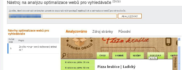 Analýza optimalizace webů pro vyhledávače