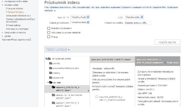 Průzkumník indexu webu