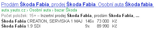Mikrodata Google - koda Fabia