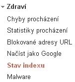 Google Webmaster Tools menu
