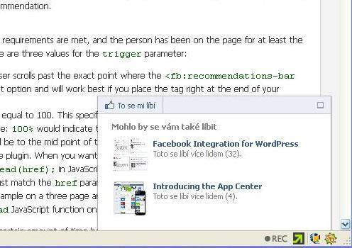 Facebook Recommendations Bar - rozšířená varianta