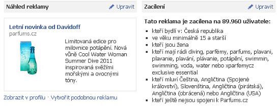 PPC reklama na Facebooku - Parfums.cz